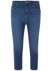Dorothy Perkins Mid Wash Shape And Lift Crop Jeans Blue