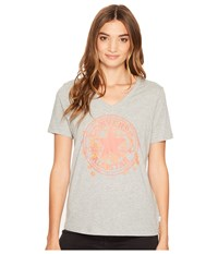 Converse Daisy Chuck Patch V Neck Short Sleeve Tee Vintage Grey Heather Women's T Shirt Gray