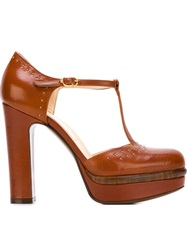 L'autre Chose Platform T Bar Pumps Brown