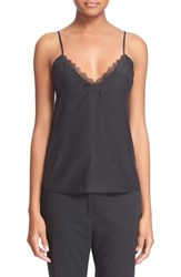 Women's The Kooples Lace Trim Crepe De Chine Camisole Black