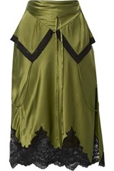 Alexander Wang Layered Lace Trimmed Silk Charmeuse Skirt Army Green