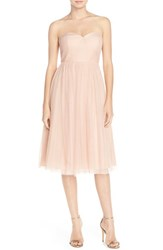 Women's Jenny Yoo 'Maia' Convertible Tulle Tea Length Fit And Flare Dress Cameo Pink