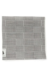 Robert Talbott Plaid Linen Pocket Square Black