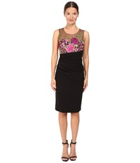 Marchesa Embroidered Cocktail With Super Stretch Skirt Black