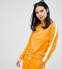 Monki Side Stripe Zip Up Sweatshirt In Mustard Yellow