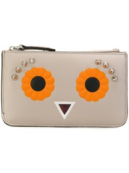 Fendi Keyring Pouch Women Leather One Size Nude Neutrals