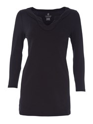 Lands' End Three Quarter Sleeve Notch Neck Tunic Jet