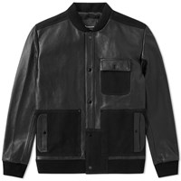 T By Alexander Wang Leather And Canvas Bomber Black