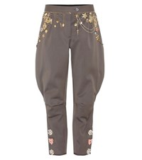 Dolce And Gabbana Embellished Cotton Trousers Green