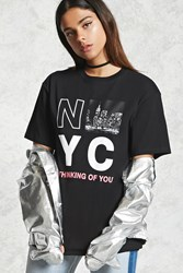 Forever 21 Nyc Thinking Of You Graphic Tee Black White