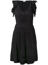 Masscob Ruffled Sleeves Flared Dress Black