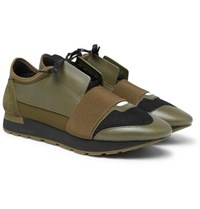 Balenciaga Race Runner Leather Neoprene Suede And Mesh Sneakers Green