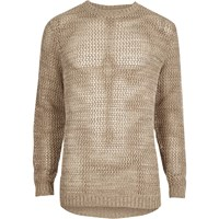 River Island Beige Mesh Knit Slim Fit Jumper