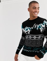 New Look Christmas Jumper With Mountain Scene In Black