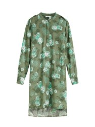 Sandwich Printed Longline Shirt With Deep Side Sp Olive
