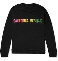 The Elder Statesman California Republic Intarsia Cashmere Sweater Black
