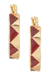 House Of Harlow Gold Tone Cranberry Enamel Huggie Earrings Red