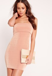 Missguided Slinky Bandeau Bodycon Dress Pink Red