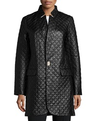 Neiman Marcus Long Quilted Leather Jacket