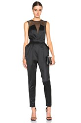 Pierre Balmain Sheer V Neck Jumpsuit In Black