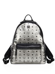 Mcm Stark Side Studded Coated Canvas Medium Backpack Silver