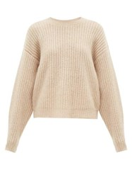 Ryan Roche Dropped Shoulder Cashmere Blend Sweater Beige
