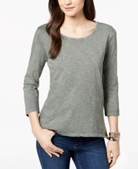 Styleandco. Style Co Petite Cotton Pleat Back Peplum Top Created For Macy's Sage