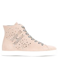 Hogan Perforated Hi Top Sneakers Women Calf Leather Leather Rubber 36 Nude Neutrals
