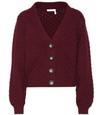 See By Chloe Cotton Chunky Knit Cardigan Red