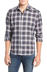 Culturata Tailored Fit Plaid Sport Shirt Brown