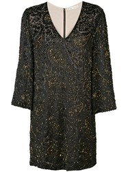 Alice Olivia V Neck Glitter Dress Black
