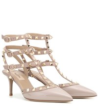 Valentino Rockstud Patent Leather Kitten Heel Pumps Beige