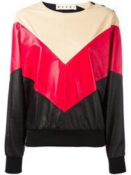 Marni Chevron Pattern Sweatshirt Red