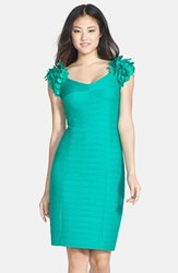 Women's Nue By Shani Flower Applique Ottoman Knit Dress Sea Green