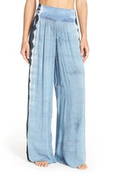 Women's Hard Tail Tie Dye Wide Leg Pants Navy Blue White