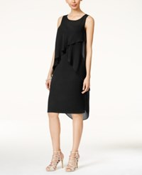 Thalia Sodi Ruffled Overlay Dress Only At Macy's Black