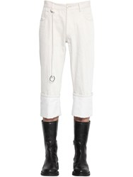 Ann Demeulemeester Cropped Cotton And Linen Fisherman Pants Off White