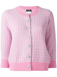 Chanel Vintage Three Quarter Sleeve Cardigan Pink Purple
