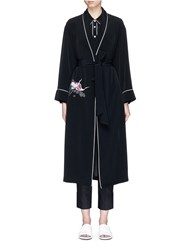 Comme Moi Swan Embroidered Belted Satin Back Crepe Coat Black