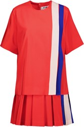 Msgm Layered Striped Silk Crepe De Chine Mini Dress Bright Orange