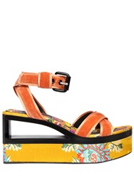 Casadei 90Mm Velvet And Satin Jacquard Wedges Orange