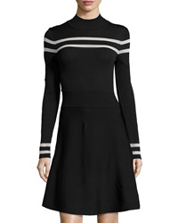Catherine Catherine Malandrino Knit Turtleneck Dress Black White