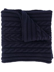 Moncler Chunky Knit Scarf Blue