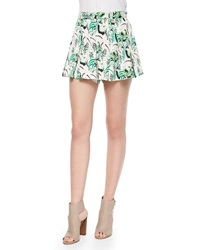 Veronica Beard Garden Print Pleated Skort