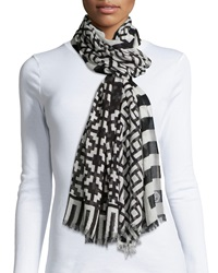 Jonathan Adler Lattice Printed Cashmere Blend Scarf Black