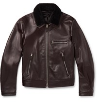 Tom Ford Slim Fit Shearling Trimmed Full Grain Leather Jacket Brown