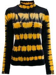 Proenza Schouler Tie Dye Velvet Turtleneck Top Black