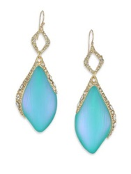 Alexis Bittar Desert Jasmine Lucite And Crystal Marquis Double Drop Earrings Gold Aqua