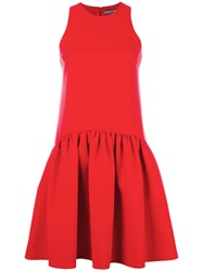 Alexander Mcqueen Flare Pleated Dress Red