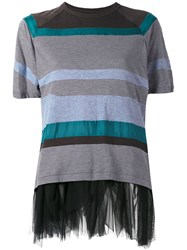 Kolor Striped Mesh Trim Top Women Cotton Nylon Polyester Cupro 2 Grey
